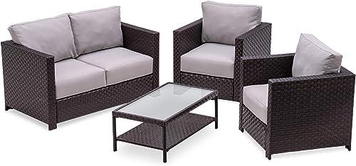 MCombo Wicker Patio Sofa Furniture