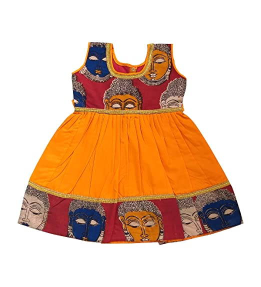 fa019c5d32bc Pattu Pavadai Kalamkari Frock Red for Baby Girls and Kids - 2 Years ...