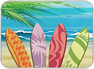 Dish Drying Mat Summer Beach Four Surf Boards in Blue Sky Dish Mat Drying Kitchen Mat Small for Kitchen Counter Sink Quick Drying Dishes Drainer Rack Bottle Cloth Folding Mats Pad