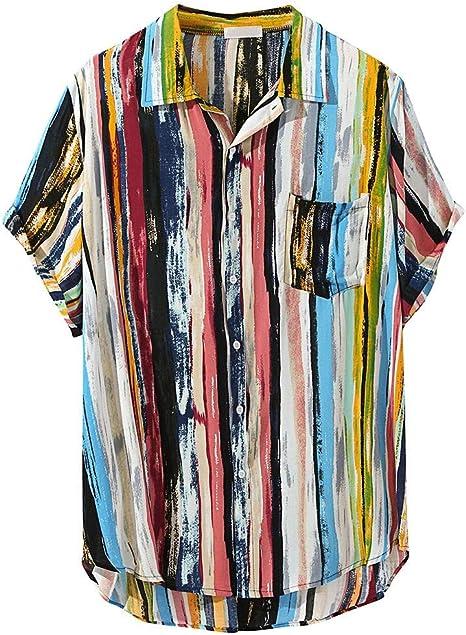 Camiseta Hombre MISSWongg Sabana Algodon Retro Raya Hawaiana Manga Corta Camisas Sueltas con Bolsillo Antiarrugas Material Suave Camisas Ligero ...