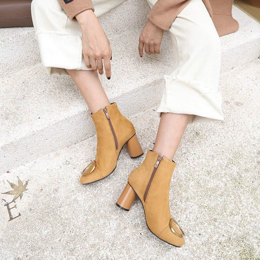 RedBrowm-women Side Zipper High Heel Ankle Boots Suede Martin Boots Rivet Retro Shoes