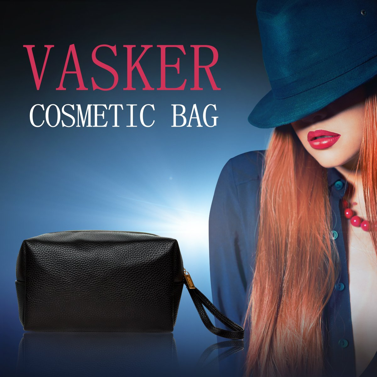 VASKER PU Leather Makeup Bag Handy Cosmetic Pouch Travel Portable Handbag Purse Toiletry Storage Bag Large Organizer with Zipper Women by VASKER (Image #7)