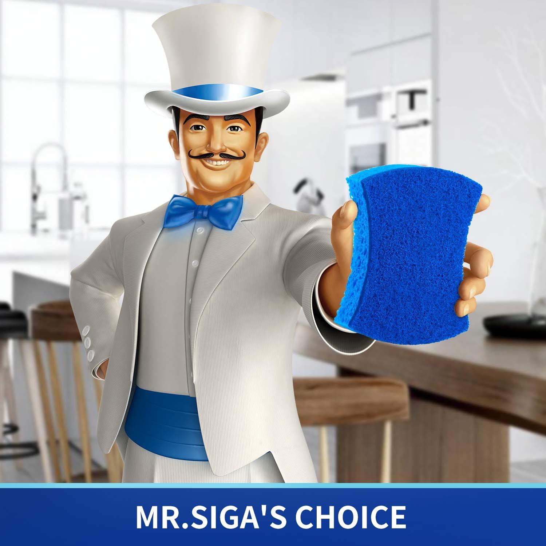 MR.SIGA Non-Scratch Cellulose Scrub Sponge Dual-Sided Dishwashing Sponge for Kitchen 12 Pack