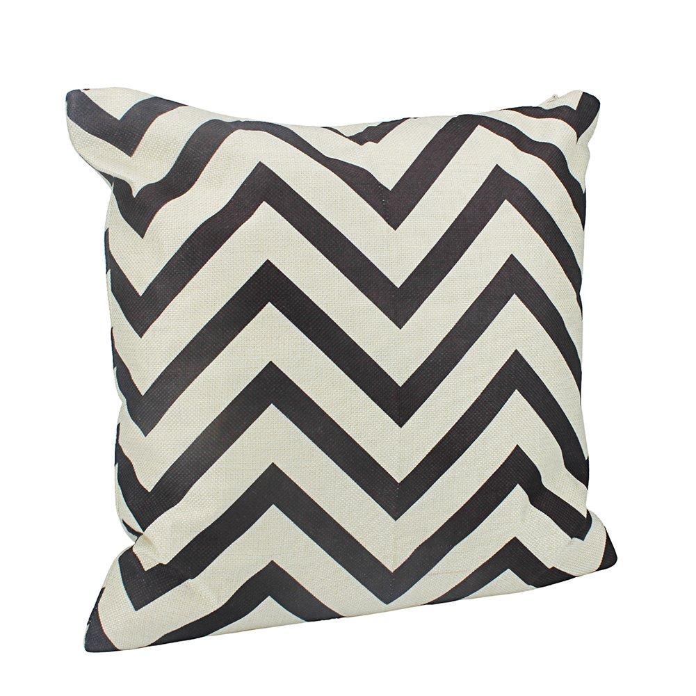 Aoruisier Cotton Canvas Cushion Covers Elegant Soft Wave Pattern Zig-zag Printed Throw Home Car Office Decoration 4040cm - No Insert - Black