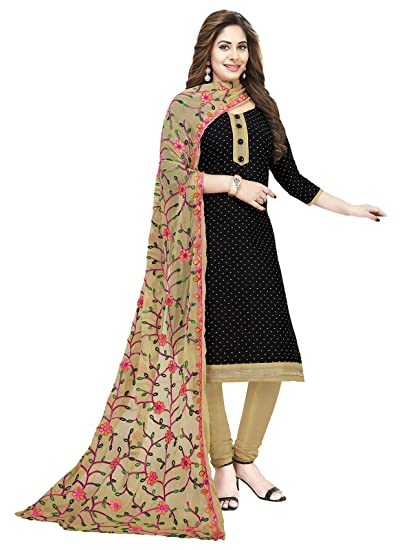 193c965b61 Ishin Cotton Black & Beige Embroidered Women's Unstitched Salwar Suit Dress  Material With Chiffon Dupatta: Amazon.in: Clothing & Accessories