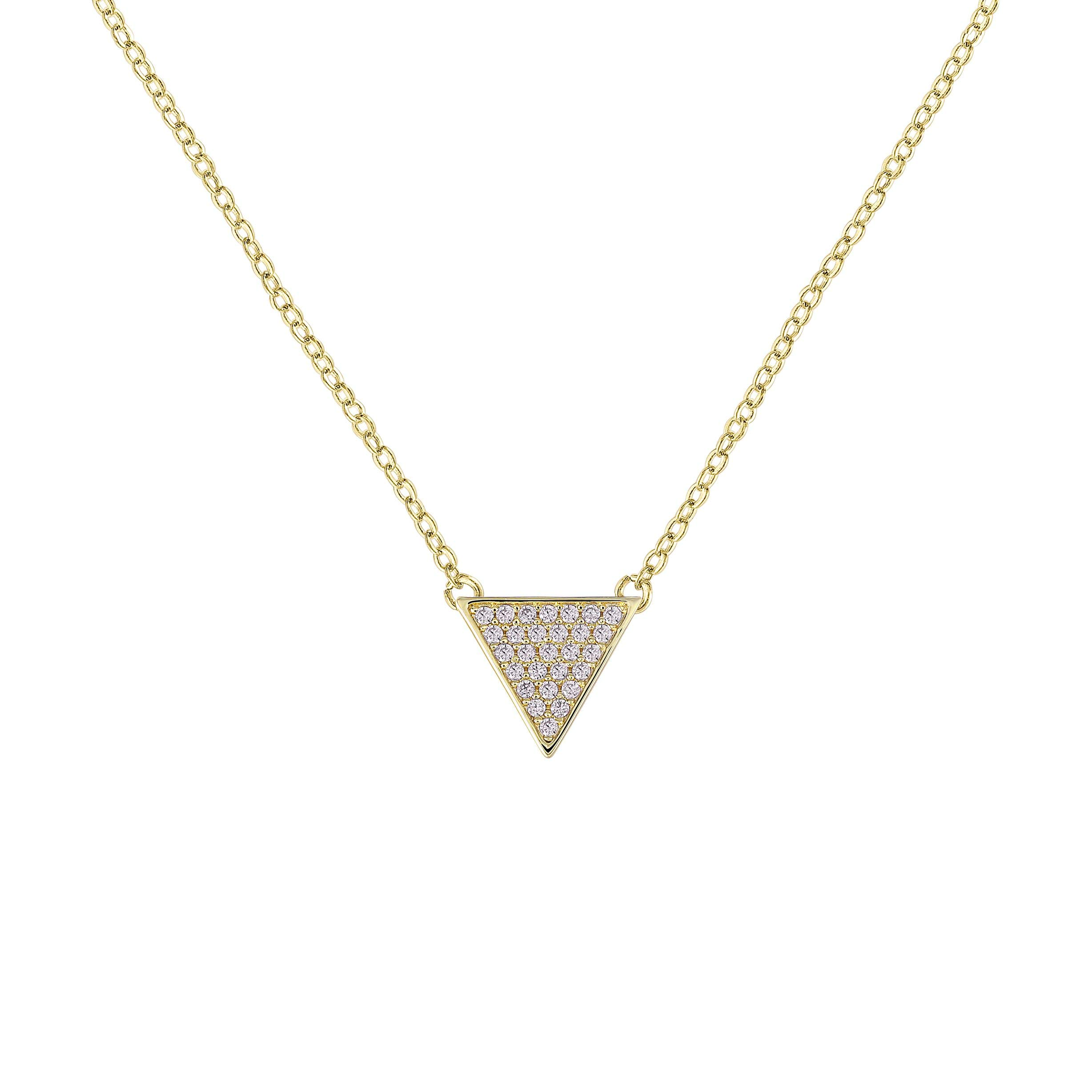 QUINBY Triangle Necklace Rose Gold-Plated Pendant with Pave Cubic Zirconia Crystal
