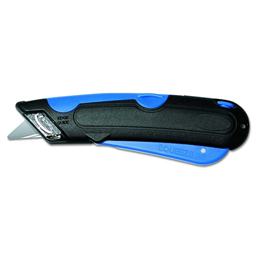 COSCO 091508 Easycut Cutter Knife w/Self-Retracting Safety-Tipped Blade, Black/Blue