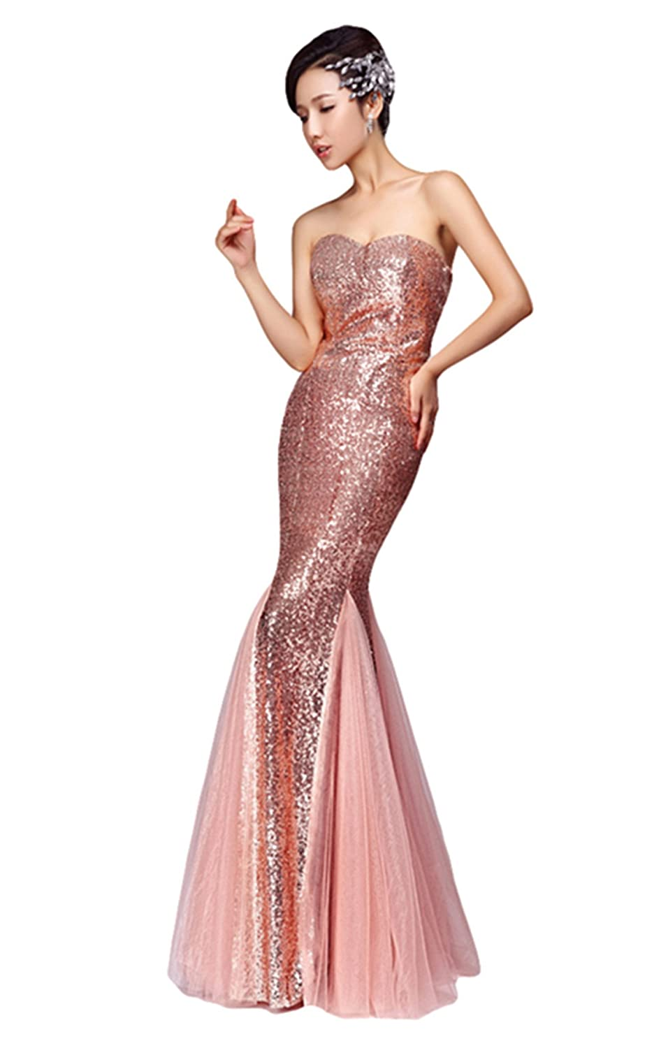 72077d3ae9a79 LIMATRY Women's Sexy Sequined Bra Mermaid Wedding Toast Evening Dress at  Amazon Women's Clothing store: