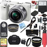 Sony Alpha a6000 24.3MP Wi-Fi Mirrorless Digital Camera + 16-50mm Lens Kit (White) +64GB SD Card + DSLR Photo Bag + Extra Battery+Wide Angle Lens+2x Telephoto Lens+Flash+Remote+Tripod Executive Bundle