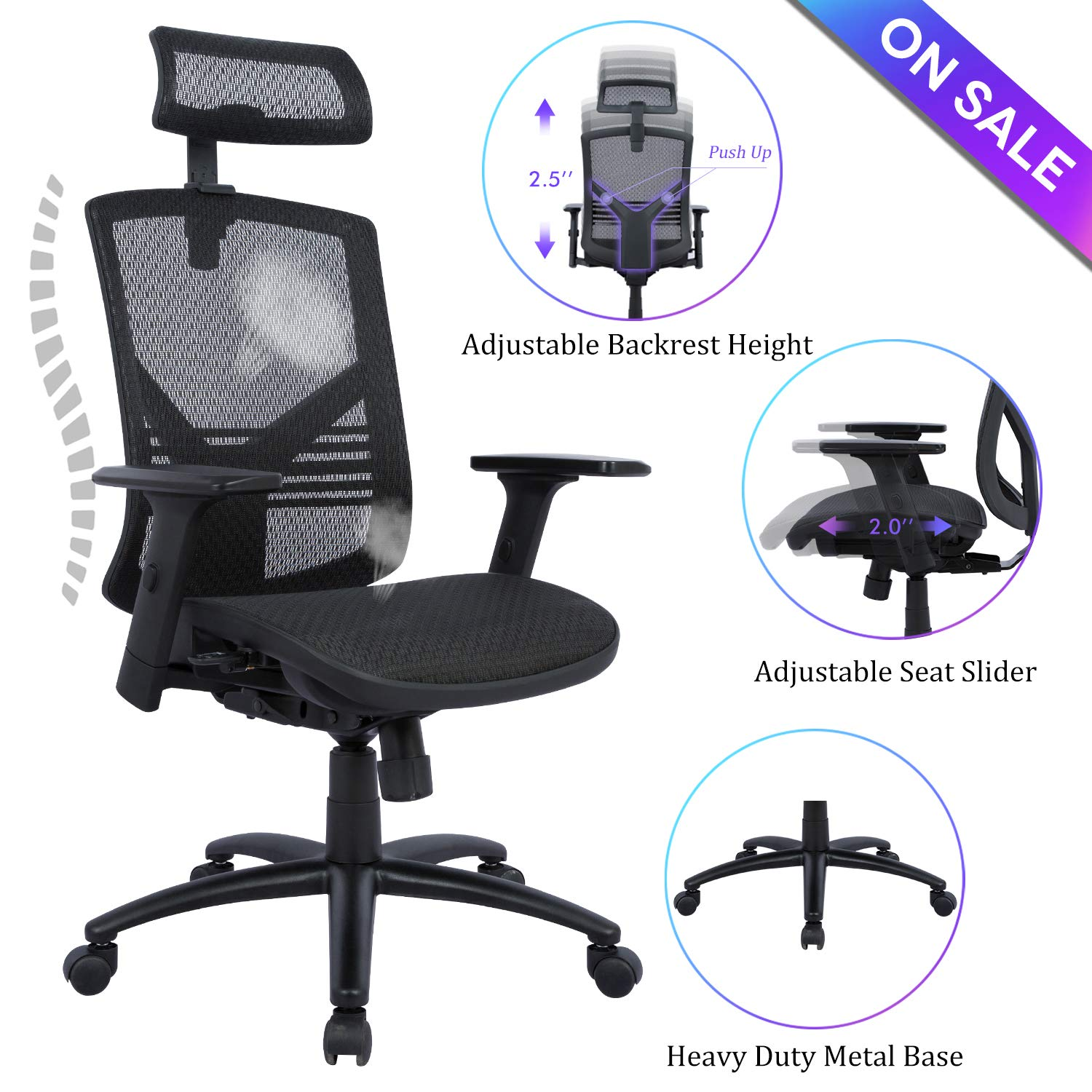 Statesville Ergonomic High Back Mesh Office Chair – Adjustable Backrest, Seat Slider, Arms and Headrest Desk Chair Computer Chair with Metal Base, Black