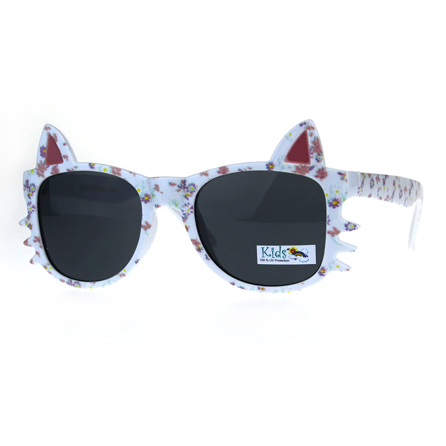 Childern Size Flower Print Kitty Ear Whisker Horn Rim Girls Sunglasses SA106 k800-bkglt