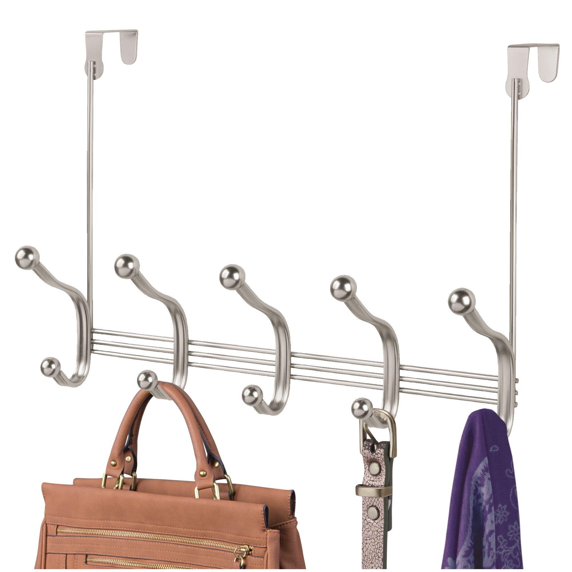 mDesign Over Door 10 Hook Steel Storage Organizer Rack for Coats, Hoodies, Hats, Scarves, Purses, Leashes, Bath Towels & Robes - Brushed Nickel