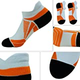 Marathon Socks, HAPYCEO Men's Marathon Activity Low Cut Running Cycling Ankle Socks - Provide Relief for Swelling Cramps and Foot Pain, 3 Pairs, White&Orange