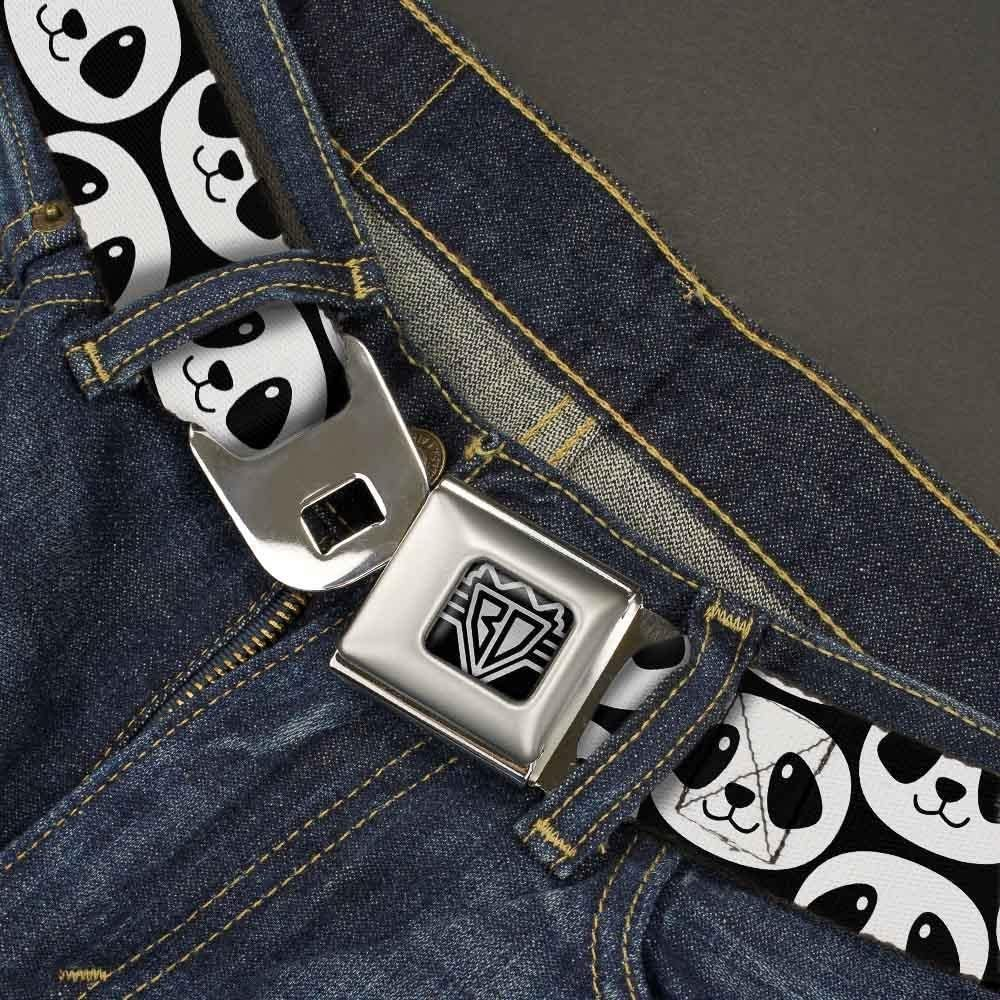 1.5 Wide-24-38 Inches Buckle-Down Unisex-Adults Seatbelt Belt Panda Regular Smiling Repeat Black//White