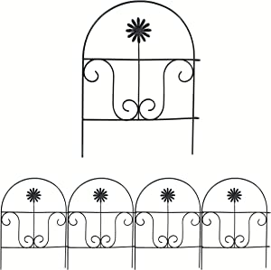 YOUKOOD Decorative Garden Fence Lawn Yard 18inx13in, Garden Fencing 4 Panels Iron Border Fence Edging Metal Wire Fencing for Garden Flower Bed,Patio,Lawn Landscape (Daisy Fence)