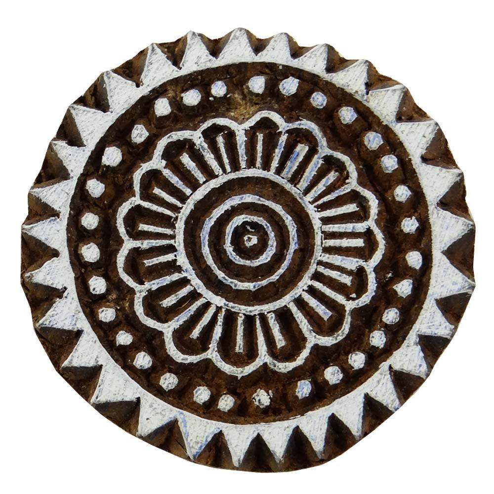 Indian Wood Floral Decorative Handcarved Wooden Textile Stamp Printing Block
