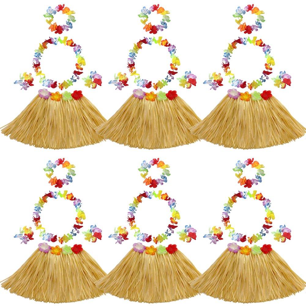 Elesa Miracle 6 Sets Kids Girls Elastic Hawaiian Hibiscus Grass Hula Skirts Value Set Costume Luau Party Favors, Tan