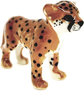 """WitnyStore Cheetah Figurines - Collectible Animal Art - Miniature Hand Made and Painted Ceramic Table Decor Perfect for Gifts and Souvenirs 1 3/4"""" L x 1/2"""" W x 1 1/2"""" H"""