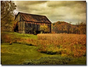 Old Barn on Rainy Day by Lois Bryan, 30x47-Inch Canvas Wall Art