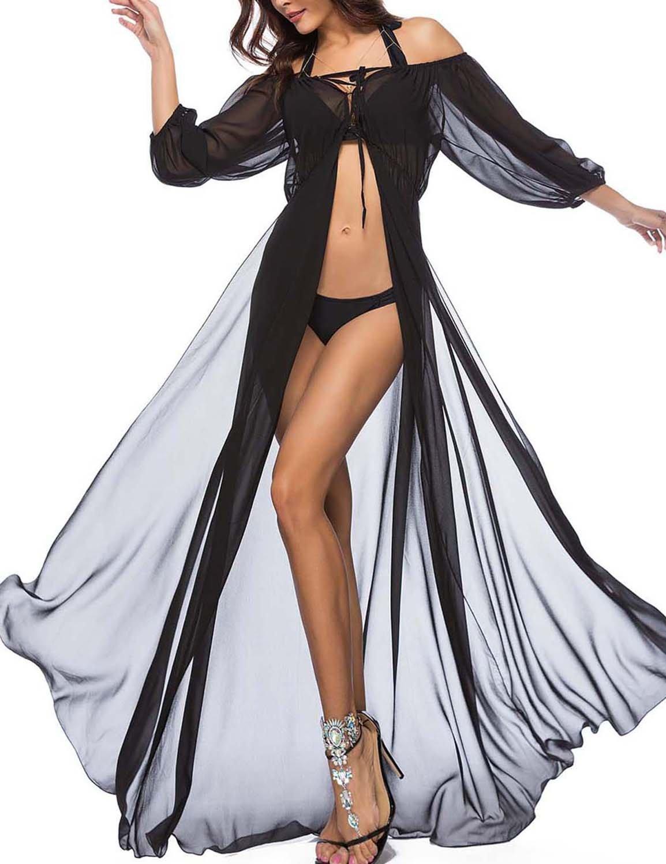 Vivilover Women's Chiffon Boho Off Shoulder Beach Dress Bathing Suit Cover up