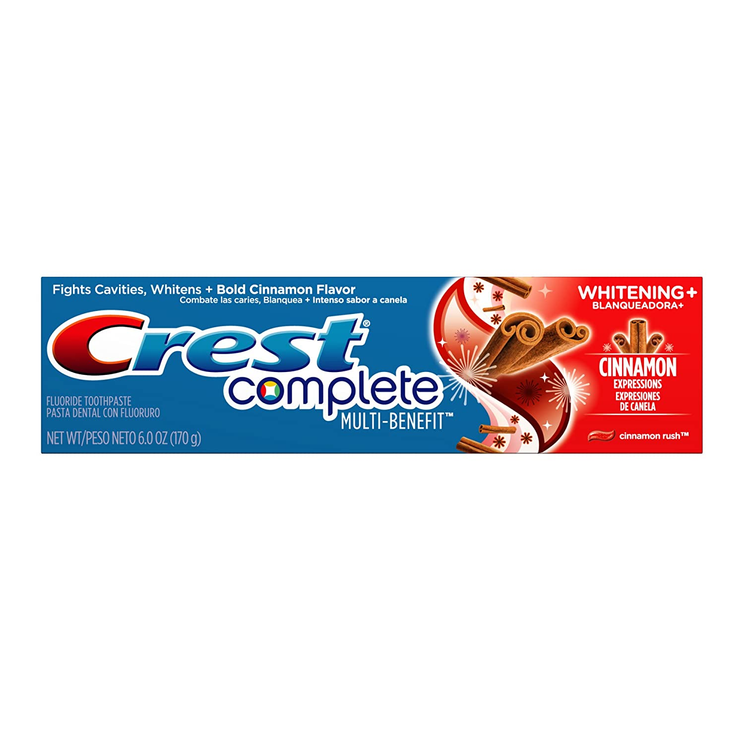 Amazon.com : Crest Complete Multi-Benefit Whitening Expressions Cinnamon Rush Flavor Toothpaste, 6 oz., (Pack of 6) : Tooth Whitening Products : Beauty