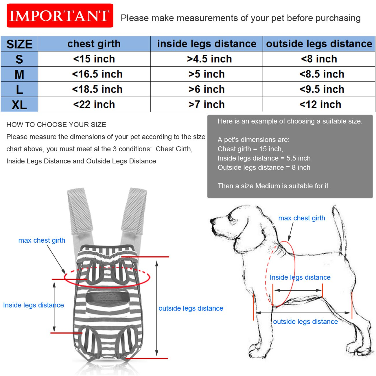 COODIA Legs Out Front Pet Dog Carrier Front Chest Backpack Pet Cat Puppy Tote Holder Bag Sling Outdoor (S) by COODIA (Image #5)