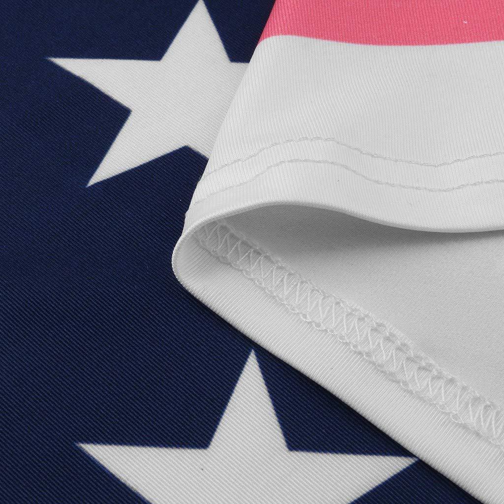 Womens Mini Dress Casual Patriotic Stripes Star Sundress American Flag Print Midi Tank Dress Summer Beach Dresses