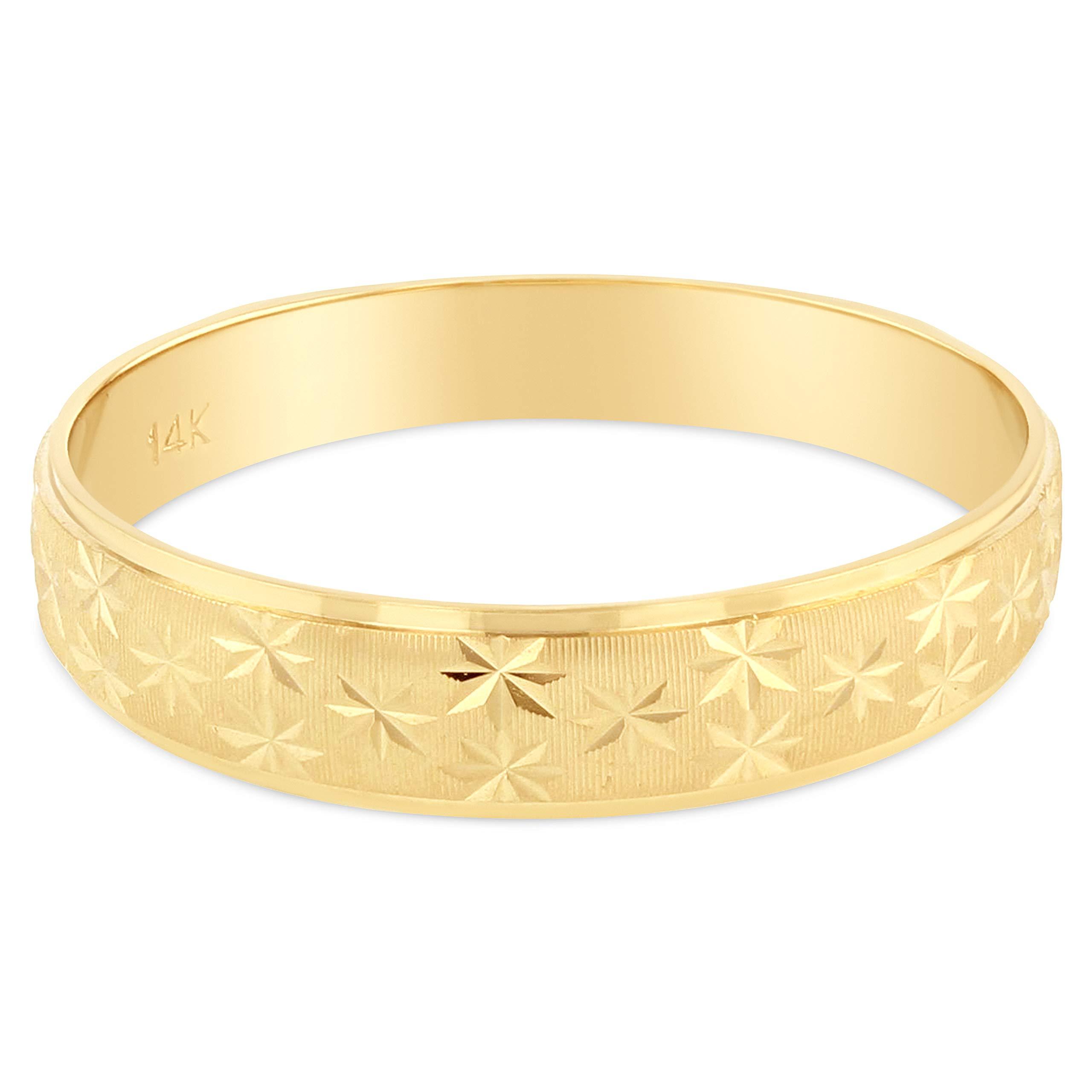 Ioka - 14K Solid Yellow Gold 4mm Diamond Cut Star Pattern Women's Wedding Band - Size 7.5 by Ioka
