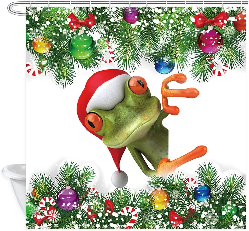 JAWO Merry Christmas Shower Curtain Cute Frog in Xmas Hat, Colorful Christmas Balls White Snowflake Decor Pine Fir Tree, Xmas Holiday Decoration Funny Bathroom Curtains Fabric, 69X70 Inches