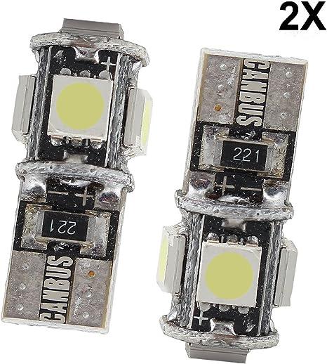 VEILLEUSE 5 LED SMD CANBUS T10 W5W ANTI ERREUR ODB à 5 LED  BLANC/&.