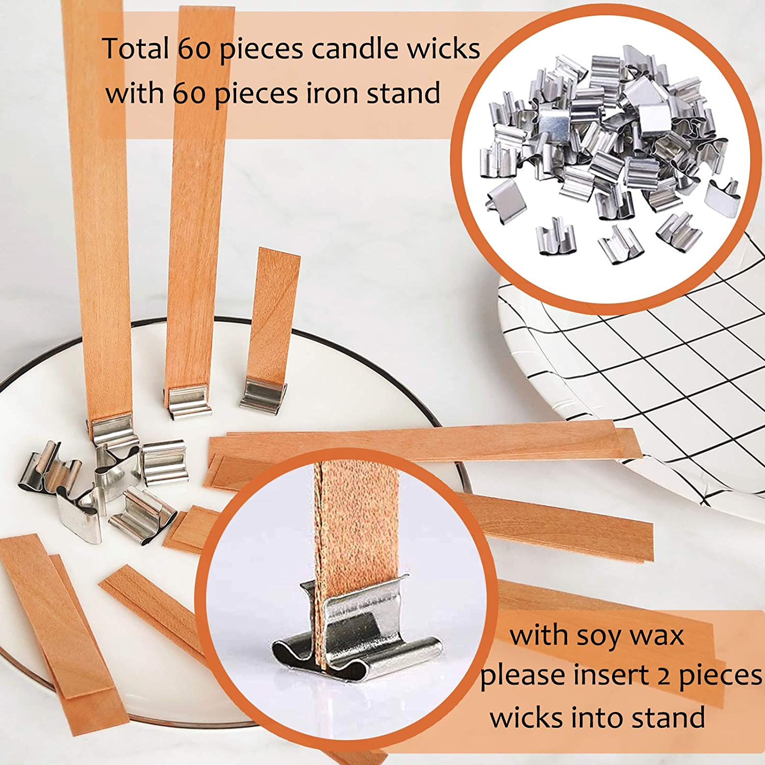 Thick Wooden Candle Wick Cores with Iron Stands 6 Size 60 PCS Wooden Candle Wicks Environmental Smokeless Candle Wicks for DIY Candle Making Craft Handmade Candle