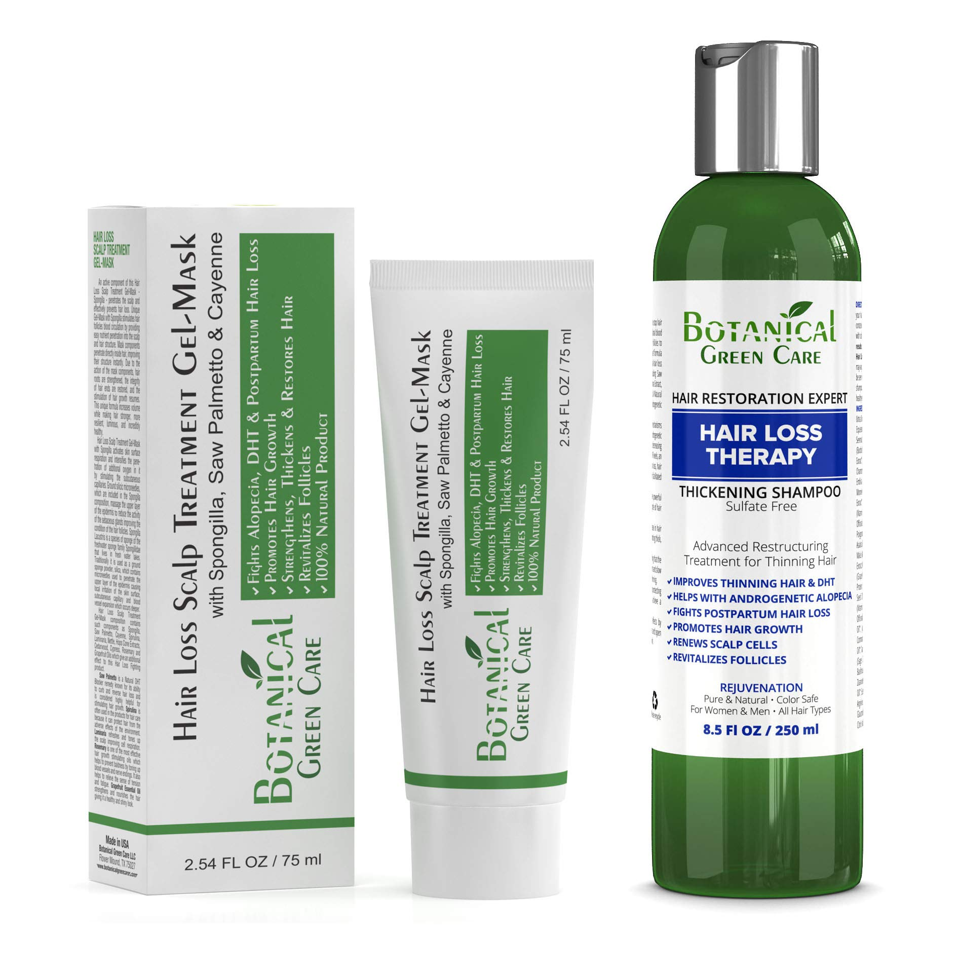 Hair Loss Therapy Shampoo & Scalp Treatment Mask Value Set (2 items) - Saw Palmetto Hair Growth For Hair Thinning Prevention Alopecia DHT Blocking. Doctor Developed by Botanical Green Care