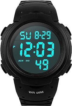 a80b9e5e5c メンズ デジタル腕時計 防水腕時計 50メートル防水 ブラック大文字盤 ストップウオッチ アラーム LED バックライト タイマー機能付き ZAYIYA