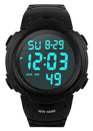 f074eb8228 メンズ デジタル腕時計 防水腕時計 50メートル防水 ブラック大文字盤 ストップウオッチ アラーム LED バックライト