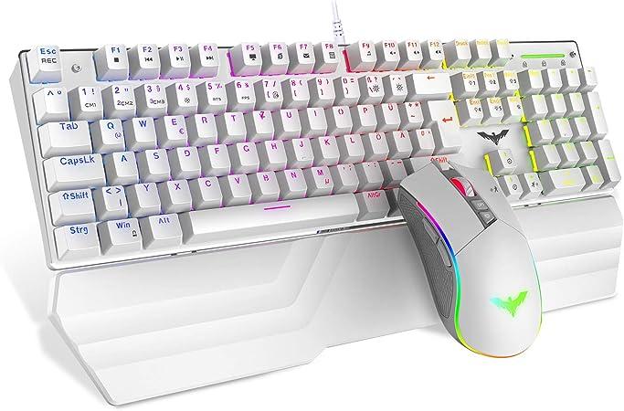 havit Juego de teclado y ratón mecánico para gaming, color blanco