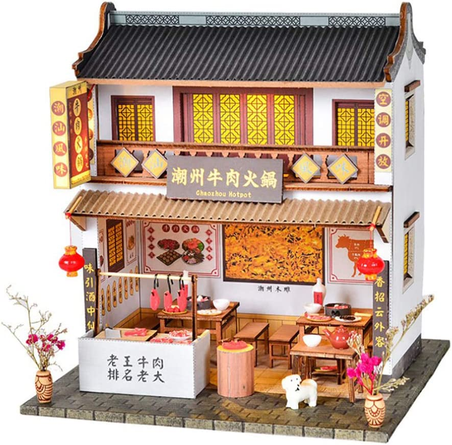 Antique Teahouse with Supplies 1//24 DIY Wooden Miniature Dollhouse Kits