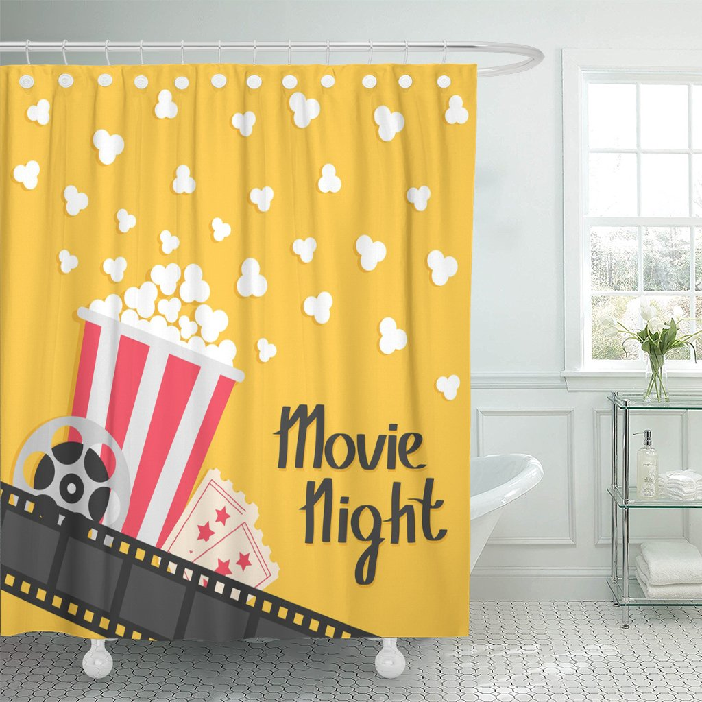 TOMPOP Shower Curtain Popcorn Popping Big Movie Reel Ticket Admit One Three Star Cinema in Flat Film Strip Border Red Yellow Waterproof Polyester Fabric 78 x 72 inches Set with Hooks