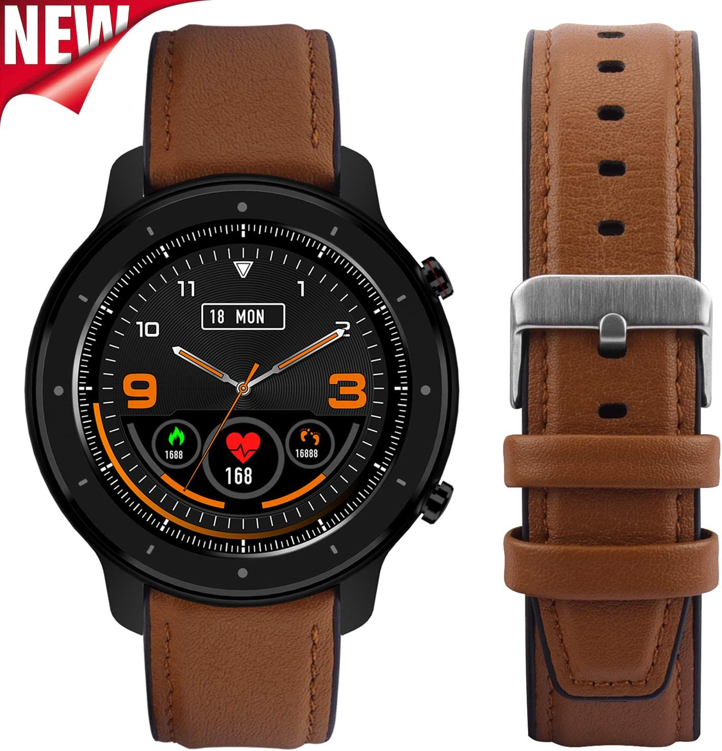 Fullmosa 【2020 Nuevo】 Reloj Inteligente, Smart Watch, Full-Touch Fitness Tracker con Frecuencia Cardíaca Monitor de Presión Arterial SoP2, 1.3 Pulgadas Activity Tracker Andriod iOS