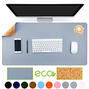 "Aothia Eco-Friendly Natural Cork & Leather Double-Sided Office Desk Mat 31.5"" x 15.7"" Mouse Pad Smooth Surface Soft Easy Clean Waterproof PU Leather Desk Protector for Office/Home Gaming (Blue-Gray)"
