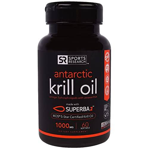 Sports Research #1 Pure Antarctic Krill Oil with Astaxanthin; Double-Strength with 1000mg of Superba® Krill Oil per liquid softgel; Contains the Highest levels of Omega-3s, Phospholipids and Astaxanthin per softgel; 60 Liquid Softgels, 2 month Supply!
