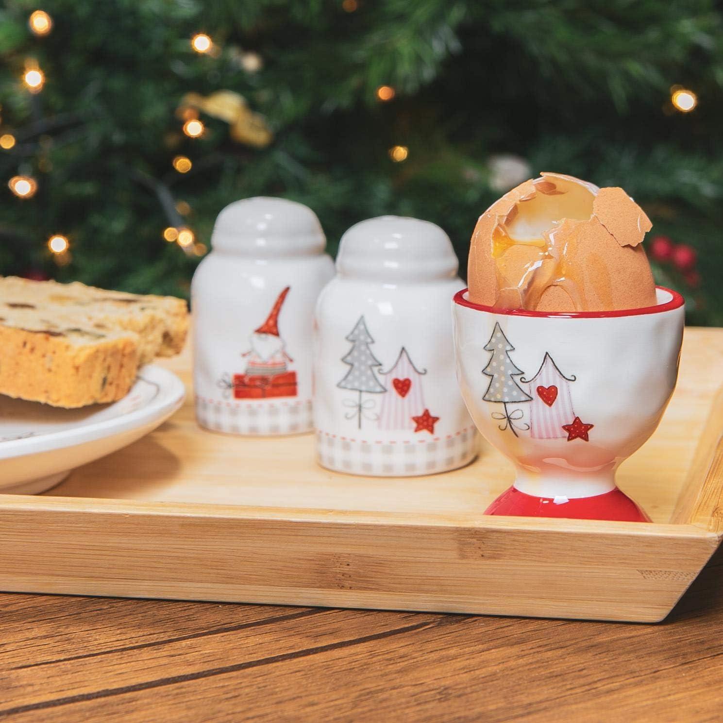 Nicola Spring 4 St/ück Weihnachtseierbecher Set Patchwork Neuheit Festliche Weihnachten Geschirr