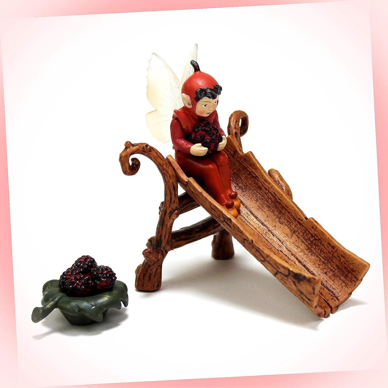 New Fairy Garden Miniature Secret Garden Flower Fairies Mulberry and Slide Dollhouse Magic Scene Supplies Accessories MFa-#1004Ga