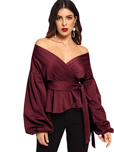 amazon SheIn Long Sleeve Off Shoulder Tie Waist Wrap Tops