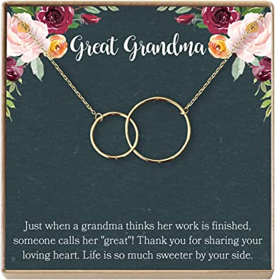 Dear Ava Great Grandmother Gift Necklace: Great Grandma to Be 4 Asymmetrical Circles Gift Idea Generations Silver-Plated-Brass, NA