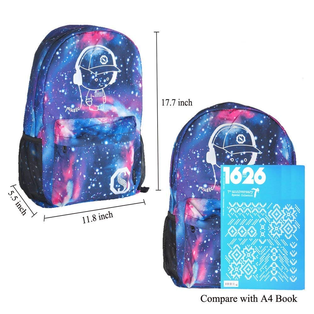 Luminous Backpack with USB Charging Port and Anti-Theft Lock & Pencil Case, Sky Anime Cartoon Unisex Casual School Daypack Bookbag Travel Laptop Backpack by ZWWZ (Image #2)