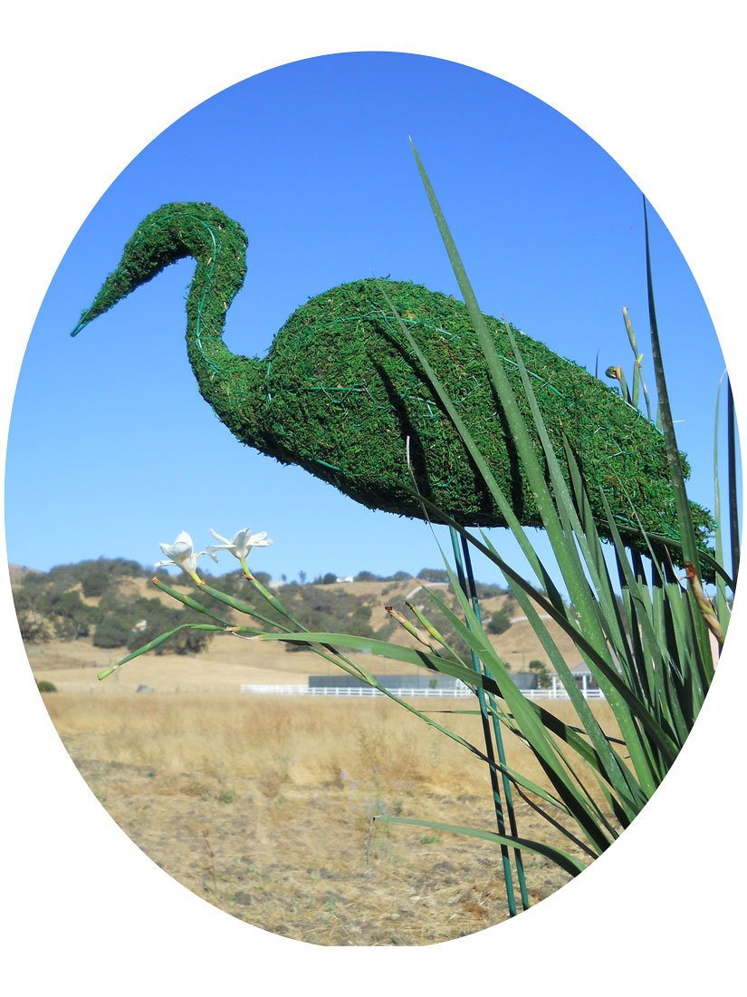 Stork 36 inches high w/ Moss Topiary Frame , Handmade Animal Decoration by S.K 703 Topiary Inc. (Image #1)