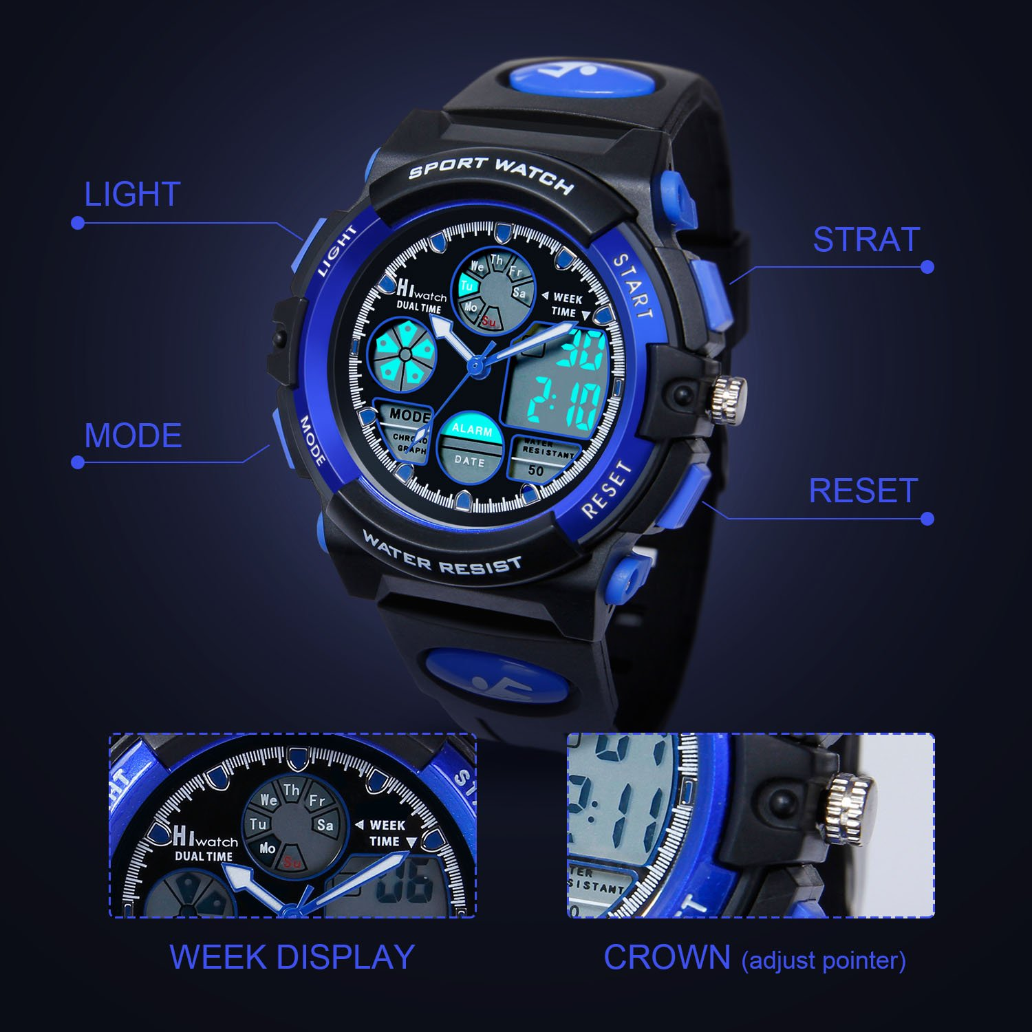 HIwatch Youth Watches Boys Girls Water-resistant Sports Digital Wrist Watch for Teenager Students,Blue by Hi Watch (Image #3)