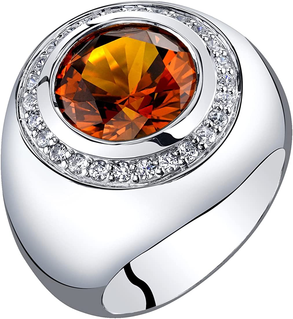 Peora Mens 6 Carats Created Cognac Sapphire Signet Ring Sterling Silver Sizes 8 to 13