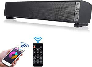 Fityou Computer Speaker, 20W Wired & Wireless Bluetooth 5.0 Mini Sound Bar Built-in Mic, USB Powered Computer Speakers for TV/PC/Cellphone/Tablet/Desktop/Laptop with Remote Control