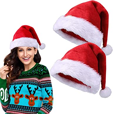 2 Pack Christmas Santa Hats for Adults Women Men Plush Red Velvet Hat Xmas Party Family Hats